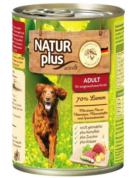 NATUR plus Hundefutter ADULT mit Lamm (getreidefrei)