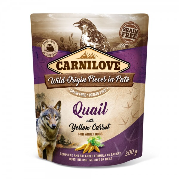 Carnilove Hund Pouch Wachtel, Quail with Yellow Carrot