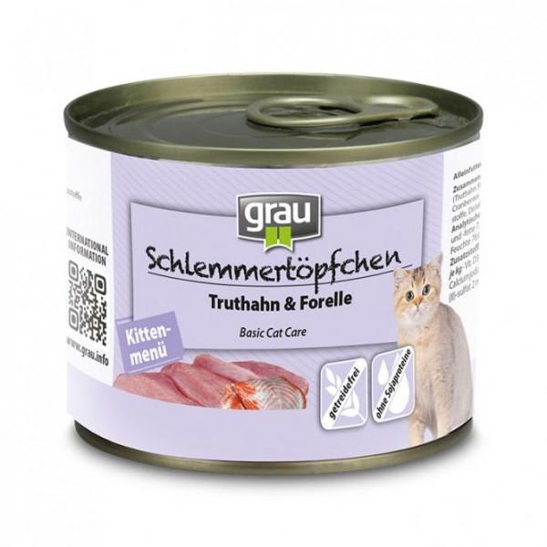 Grau Schlemmertöpfchen Kitten mit 50% Truthahn & 21,5% Forelle
