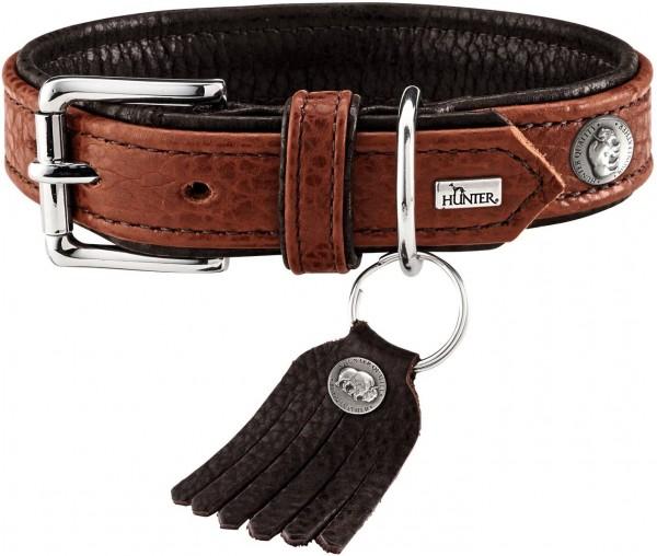 HUNTER CODY Hundehalsband, Leder, rustikal, weich, 50 (S-M), cognac/dunkelbraun