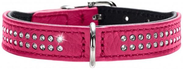 HUNTER DIAMOND PETIT Halsband für kleine Hunde, Leder, mit Strasssteinchen, 30 (XS), pink/schwarz