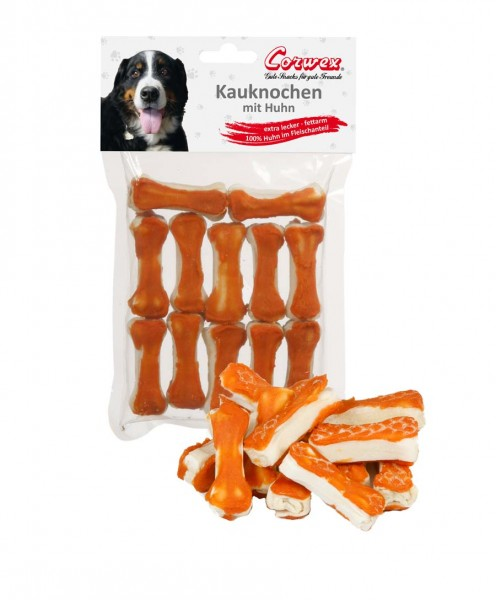Corwex Hundesnack 12 x 5cm Kauknochen mit Huhn