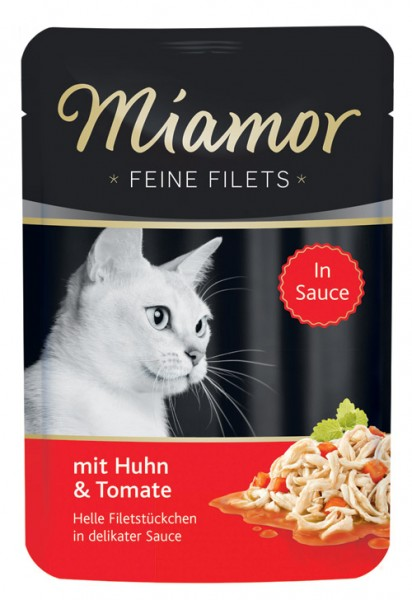 MIAMOR Feine Filets in Jelly Pouchbeutel mit Huhn & Tomate - 100g