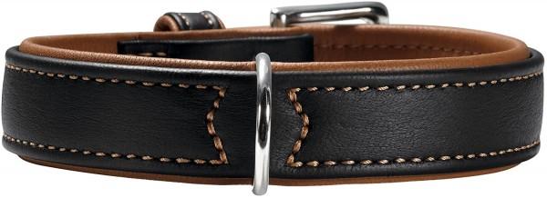 HUNTER CANADIAN Hundehalsband, Leder, hochwertig, weich, 45 (S), schwarz/cognac