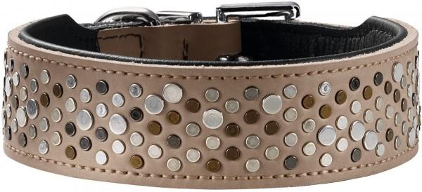 Hunter Hundehalsband Basic Rivellino beschichtetes Spaltleder, Größe 55, stein/schwarz
