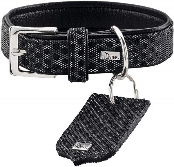 HUNTER HELLA REFLECT, Hundehalsband, reflektierend, Textil, Kunstleder, 45 (S), schwarz