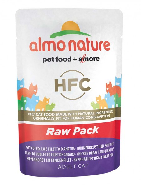 Almo Nature Katzenfutter HFC Raw Pack mit Hühnerbrust und Entenfilet